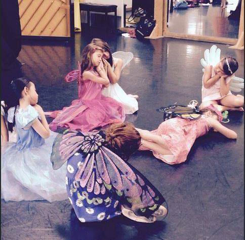 Shakespeare Shorts - The Midsummer fairies waiting for their scene to begin....