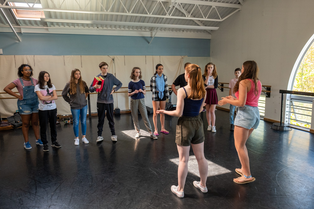Arts Umbrella Junior Theatre Troupe in rehearsals for Charlie and the Chocolate Factory.