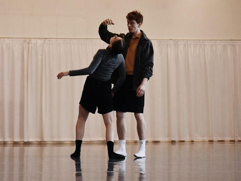 "A scene from rehearsals of ""We Move in Circles"" by Anna Bekirova and Sophie Whittome. Photo by Meilyn Kennedy"