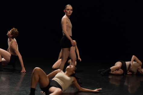 """A scene from the performance of """"Attached to Love"""" by Jordan Pelliteri and Sophia Shaw. Photo by Chris Wong"""
